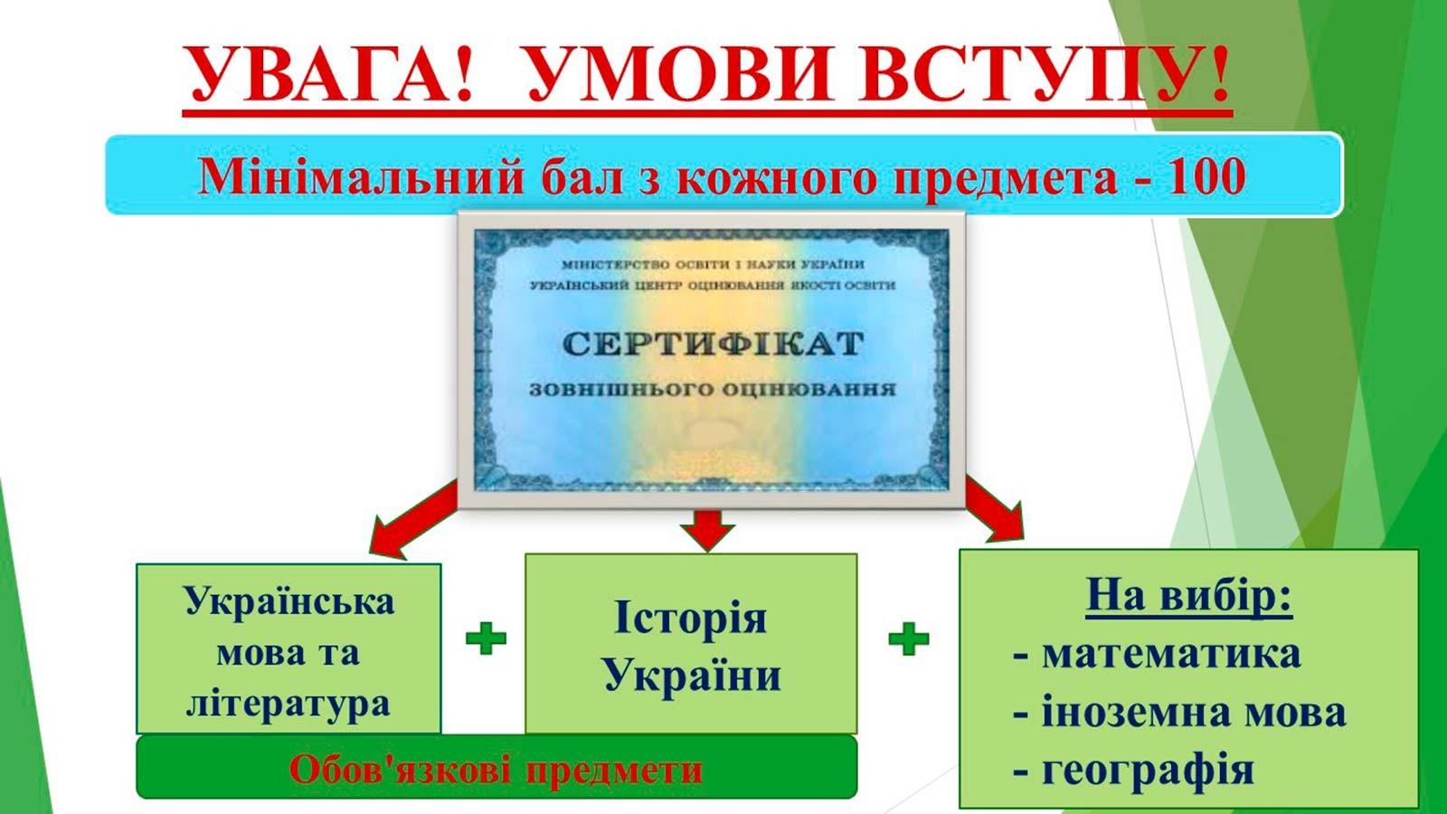 Умови вступу для майбутнього студента КФДДУВС