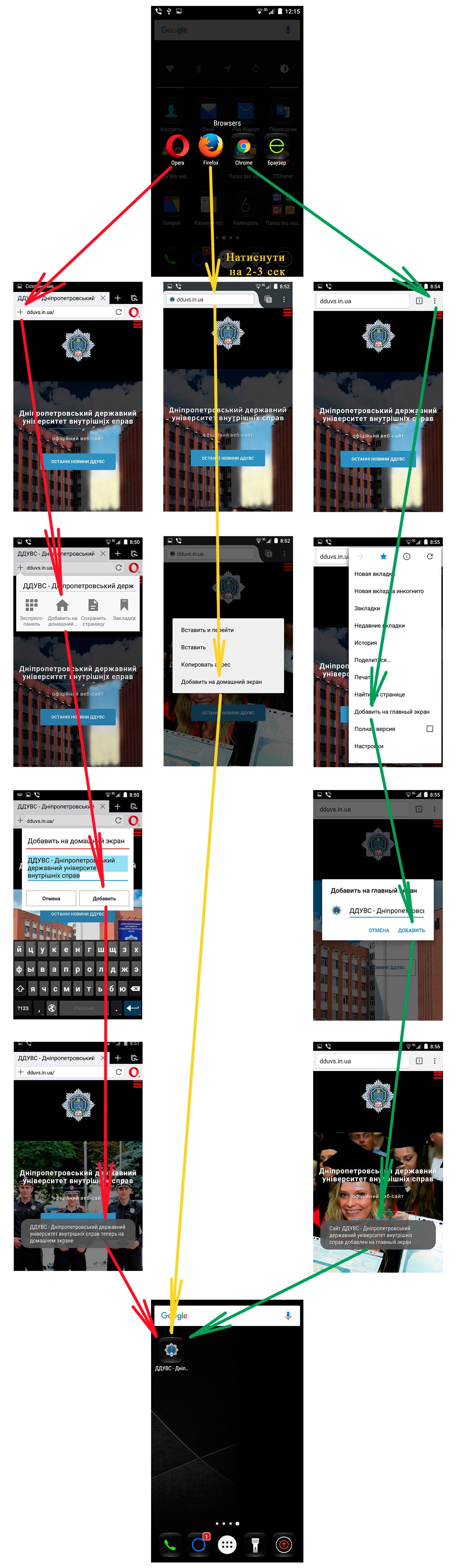 Створення іконки сайту на головному екрані телефонів з операційною системою Android