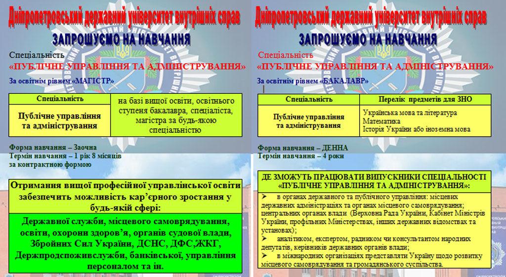 Кафедра управління та адміністрування  факультету соціально-психологічної освіти та управління ДДУВС